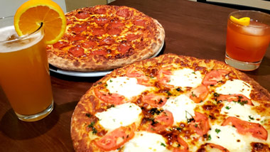 2 pizzas and drinks