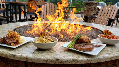 multiple menu items displayed around the fire pit